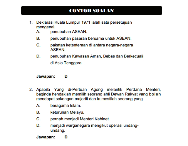 Soalan Pengetahuan AM Pegawai Belia Sukan S41